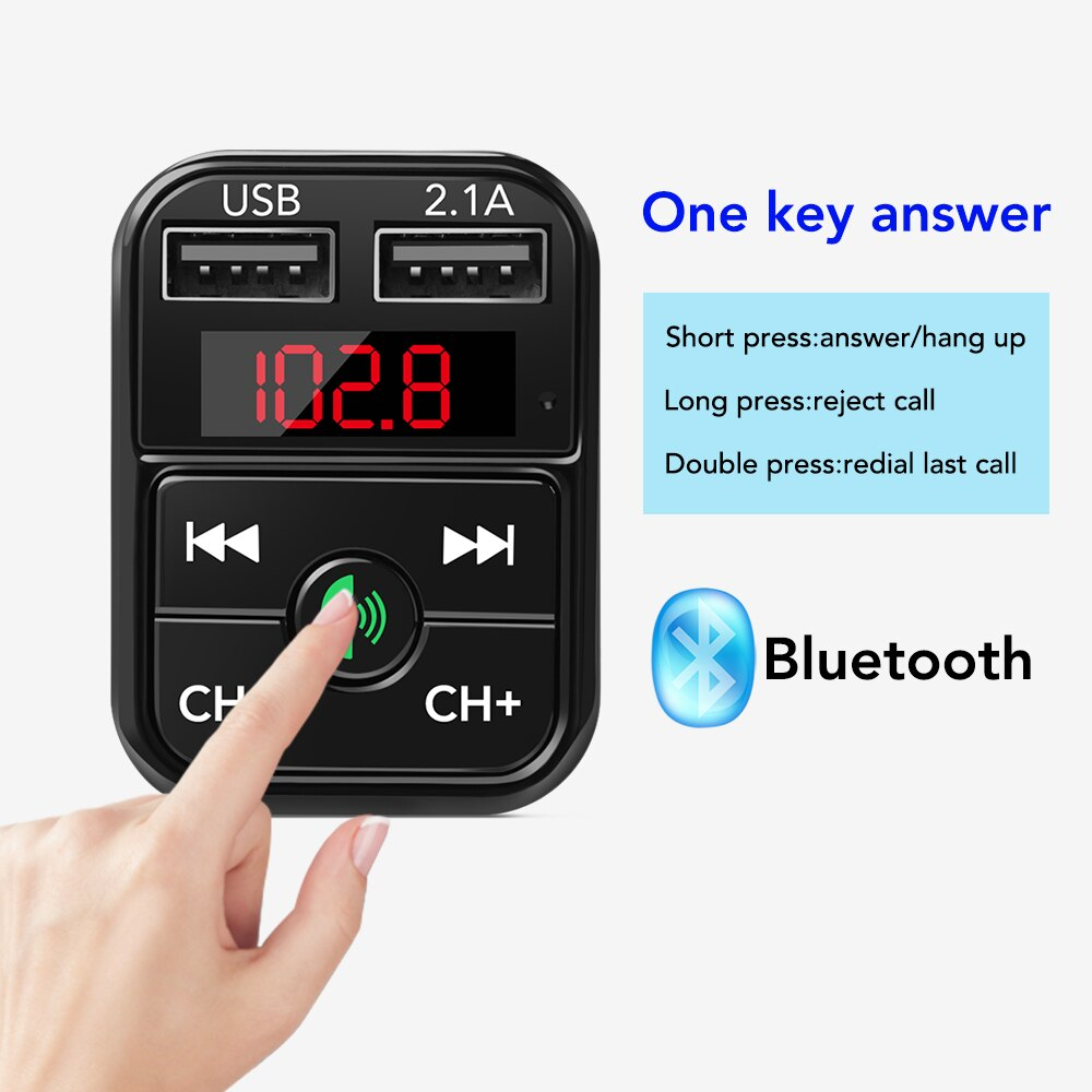 Car mp3 Handsfree Wireless Bluetooth Car Kit FM Transmitter TF Card LCD MP3 Player Dual USB 2.1A Car Charger Phone Charger