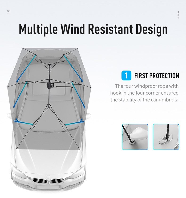 4.2M Automatic Car Umbrella Outdoor Car Tent Portable Umbrella sunRoof Cover UV Protection Kits Sun Shade with Remote Control