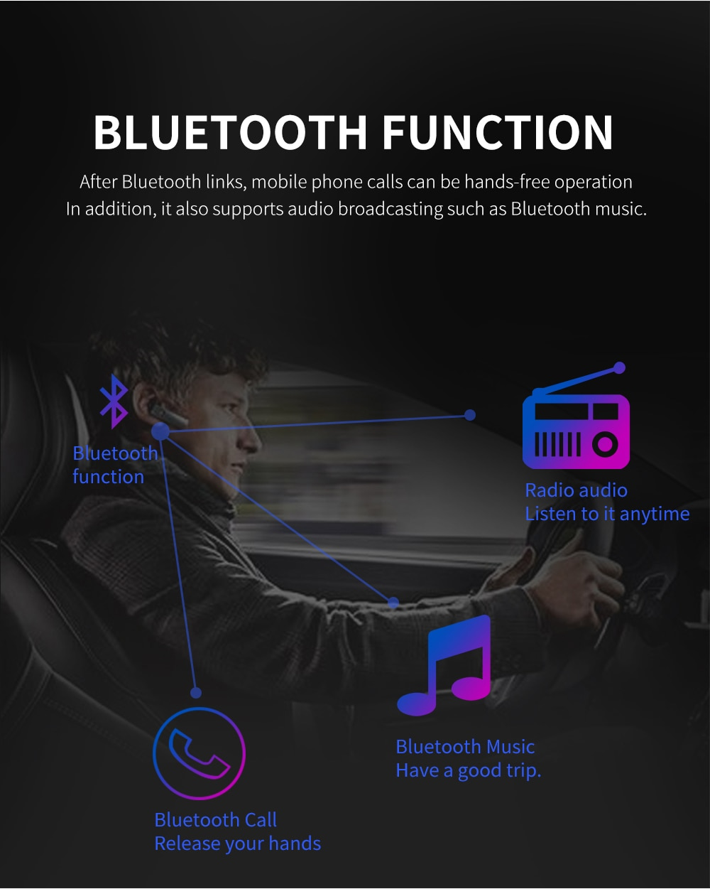"""Touch Screen Car Radio 1 Din 4.1"""" - With Bluetooth Audio Video MP5 Player"""