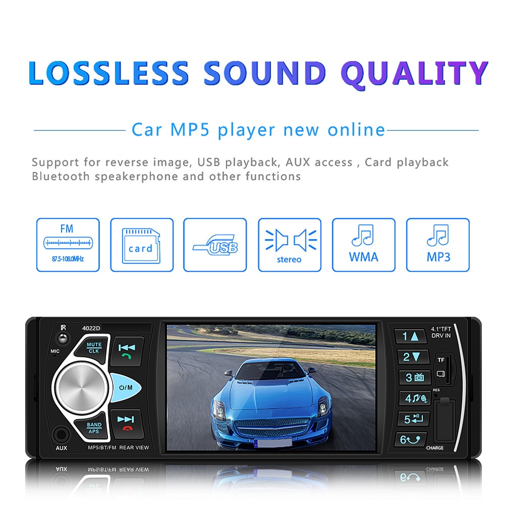 Hikity Car Radio 1Din 4022D FM Stereo Audio Player Bluetooth Autoradio Recorder Support Rearview Camera Steering Wheel Contral