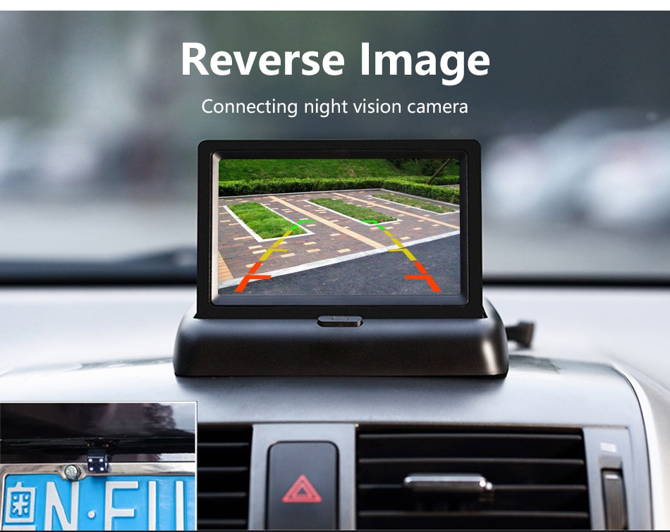 Jansite 4.3inch Car Monitors TFT LCD Car Rear View monitor Display Parking Rearview System For Backup Reverse Camera Support DVD