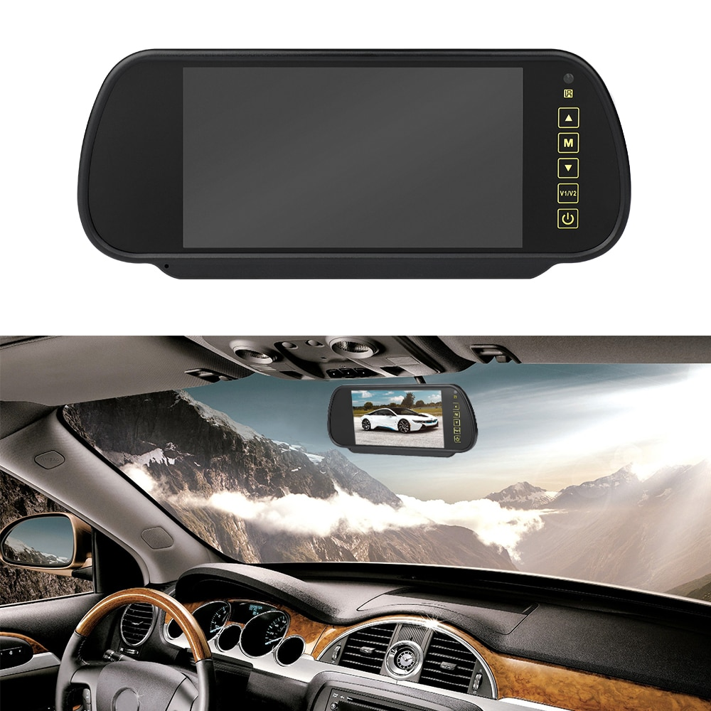 Reverse Parking System 7 inch TFT LCD Screen Car Monitor Rearview Backup Mirror with Night Vision Rearview Camera